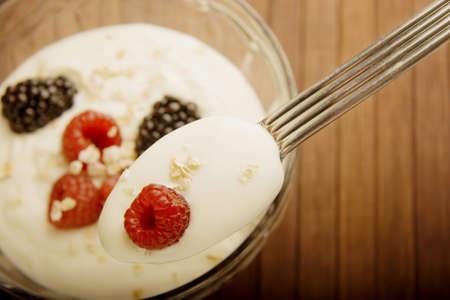 high angles: Yogourt and berries Stock Photo