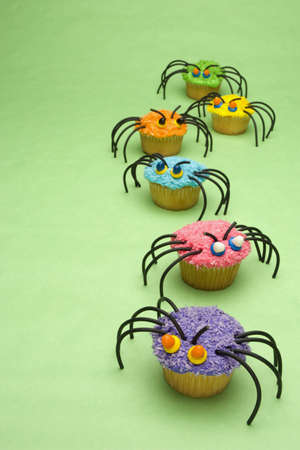 creativeness: Spider cupcakes Stock Photo