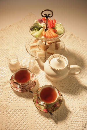 high tea: Tea and snacks