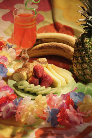 leis: A display of fruit