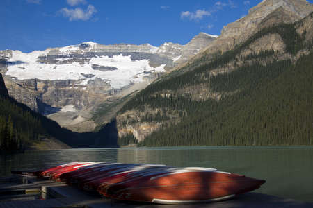 Canoes on dock at Lake Louise in Banff National Park,Alberta,Canada