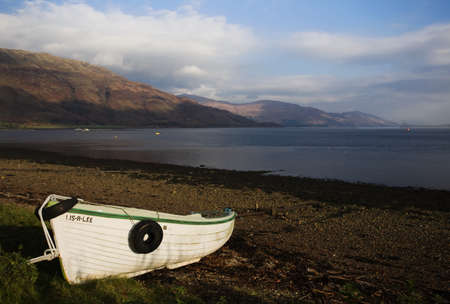 mull: Boat on shore of Fishnish,Isle of Mull,Scotland Stock Photo