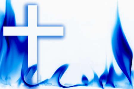 belief systems: Illustrazione del fuoco e Croce Archivio Fotografico