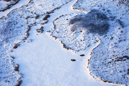 Arial view of snow covered land Stock Photo