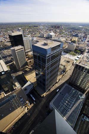 arial views: Aerial of downtown Edmonton,Alberta,Canada