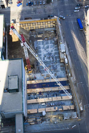 arial views: Aerial view of construction of a building Stock Photo