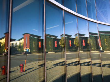 fullframes: City scene reflected in windows,The Forks,Winnipeg,Manitoba,Canada