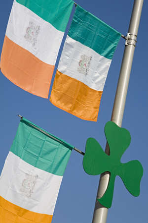 cummins: Irish flags and Shamrock, Montana Irish Festival, Butte, Montana, USA   Stock Photo