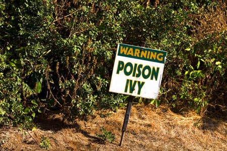 curtis: Warning sign for poison ivy Stock Photo