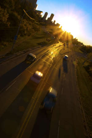 panoramics: Vehicles moving on a road