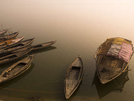 moored: Boats in the water, Varanasi, India