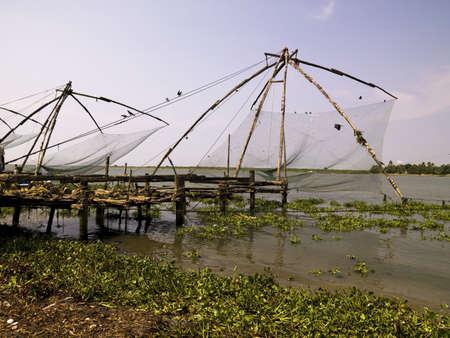 redes pesca: Redes de pesca chino, Cochin, India