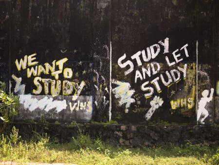 Graffiti about studying, Kerala, India