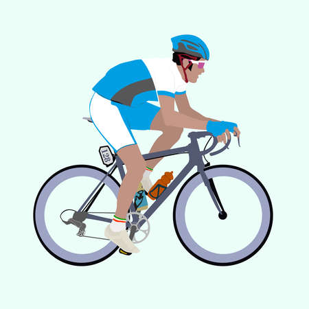 cyclist: Vector racing cyclist with a light-blue and white uniform  Every piece of composition is on a separate layer, so you can custom it with your own color