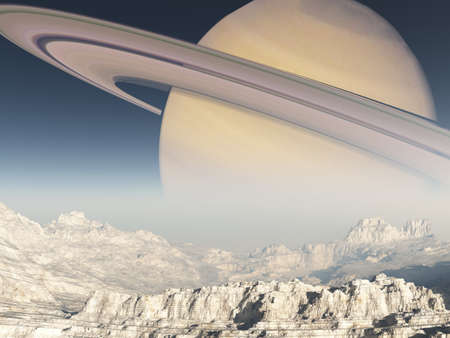 far away: Exoplanet Exploration - Fantasy and Surreal Landscape Stock Photo