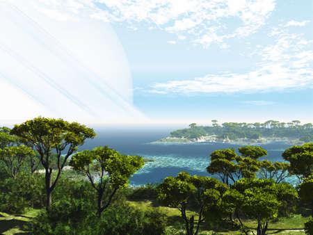 surreal landscape: Exoplanet Exploration - Fantasy and Surreal Landscape Stock Photo
