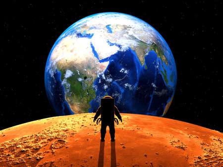 computer art: Exoplanet Exploration - Fantasy and Surreal Landscape. 3D Rendered.