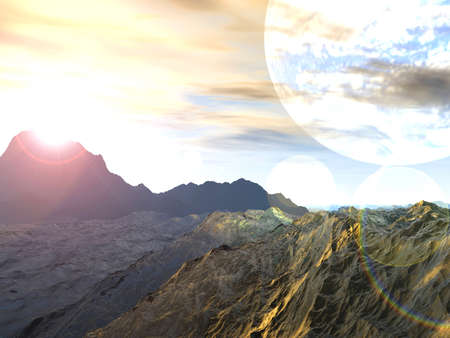 exploration: Planet of Storms. Exoplanet Exploration - Fantasy and Surreal Landscape. 3D Rendered.