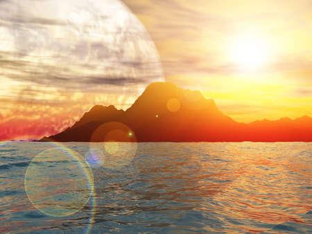surreal landscape: Sunny day on exoplanet. Exoplanet Exploration - Fantasy and Surreal Landscape. 3D rendering.