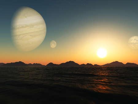 surreal landscape: Sunset on exoplanet. Exoplanet Exploration - Fantasy and Surreal Landscape. 3D rendering.