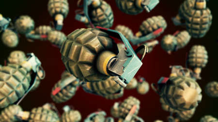 CGI motion graphics with flying grenades