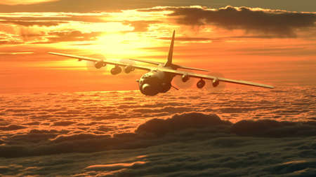 Lockheed military transport aircraft in flight