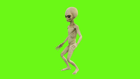 Alien dancing on green screen