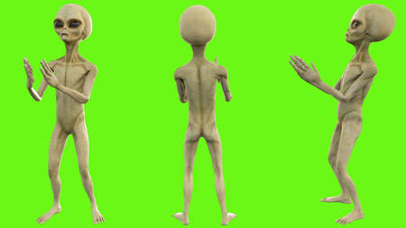 Alien clapping on green screen