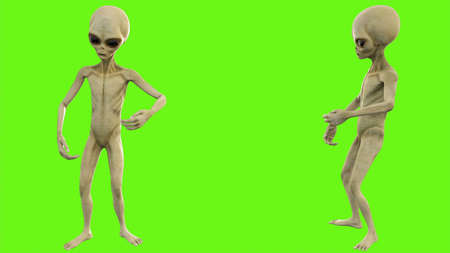 Alien talks on green screen 写真素材