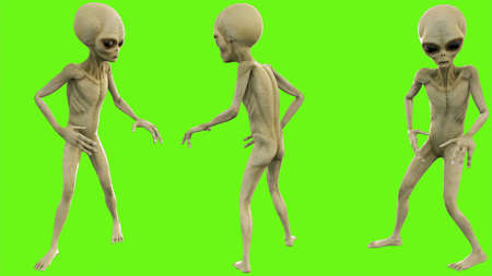 Alien look around on green screen