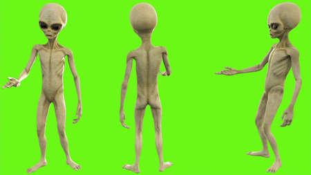 Alien talks on green screen Stock Photo