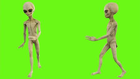 Alien walks on green screen