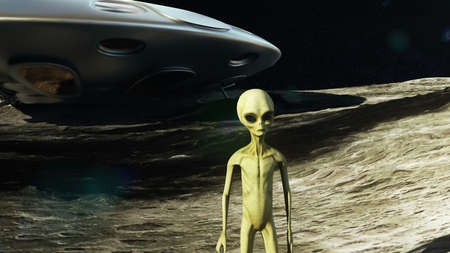 An alien on the moon next to his spaceship watching the Earth.