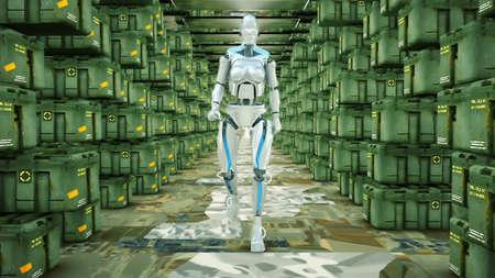 Futuristic humanoid robot walking on a military warehouse. 免版税图像