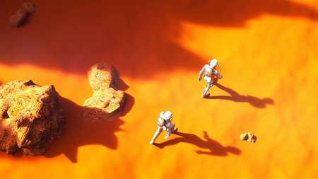 Astronauts walking on Mars.