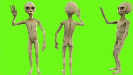 Alien salute on green screen