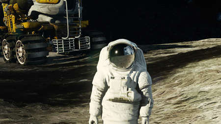 An astronaut on the moon next to his moon rover watching the Earth.