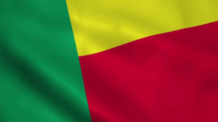 Realistic Benin flag Banque d'images - 100425181