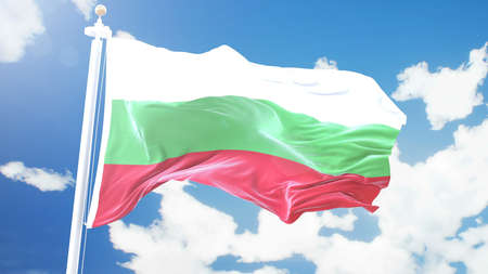 flag of Bulgaria waving against time-lapse clouds background.