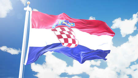 flag of Croatia waving against time-lapse clouds background. Imagens