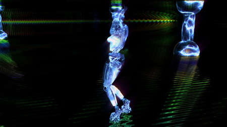 cyber girl dances and moves in a blue neon nightclub.