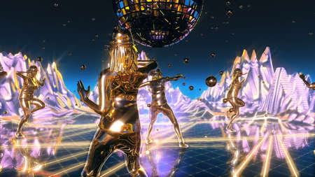 girls dancing and moving on the neon dance planet. Imagens