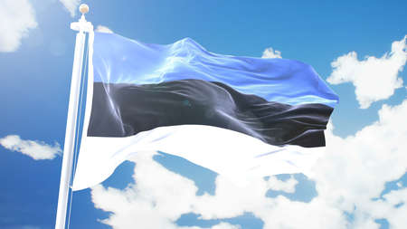 flag of Estonia waving against time-lapse clouds background.
