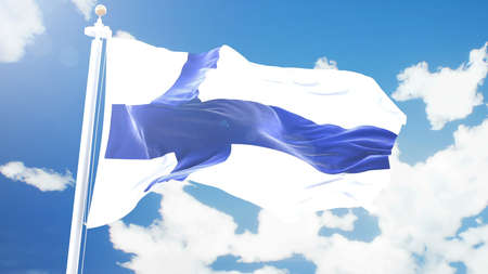 flag of Finland waving against time-lapse clouds background.