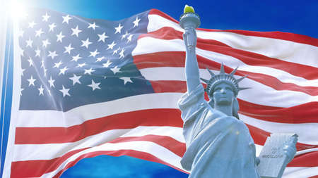 Flag of usa waving on rising sun on the background of blue sky.