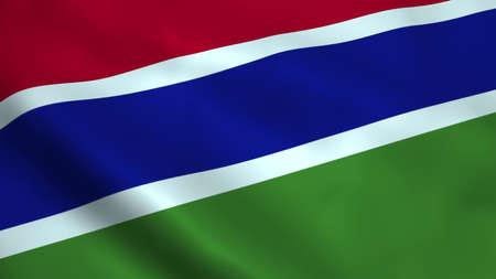 Realistic Gambia flag Stock Photo