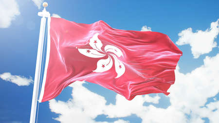 flag of Hong Kong waving against time-lapse clouds background.
