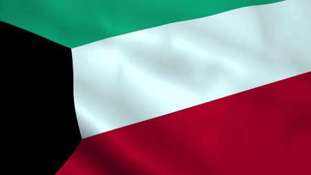Realistic Kuwait flag