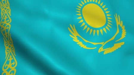 Realistic Kazakhstan flag