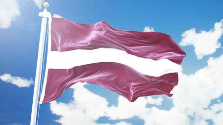 flag of Latvia waving against time-lapse clouds background. Foto de archivo - 100426249
